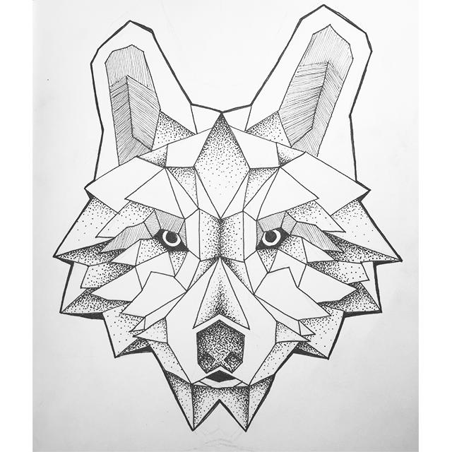Geometric Wolf Ink